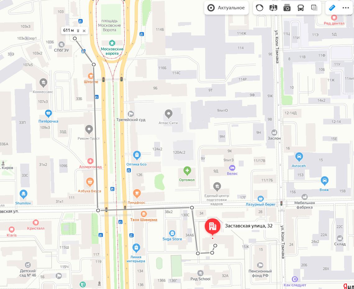 Схема пешеходного маршрута от метро